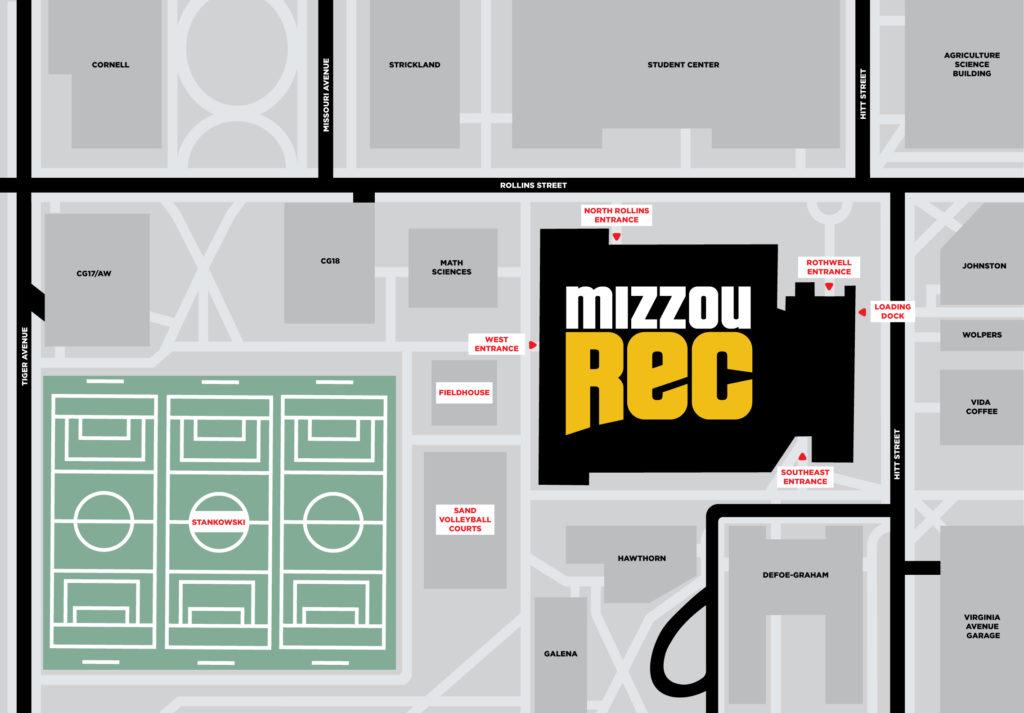 MizzouRec Exterior Map